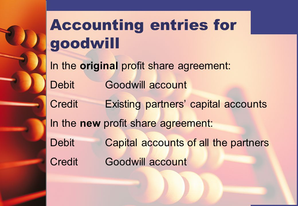 Accounting entries for goodwill In the original profit share agreement: DebitGoodwill account CreditExisting partners' capital accounts In the new profit share agreement: DebitCapital accounts of all the partners CreditGoodwill account