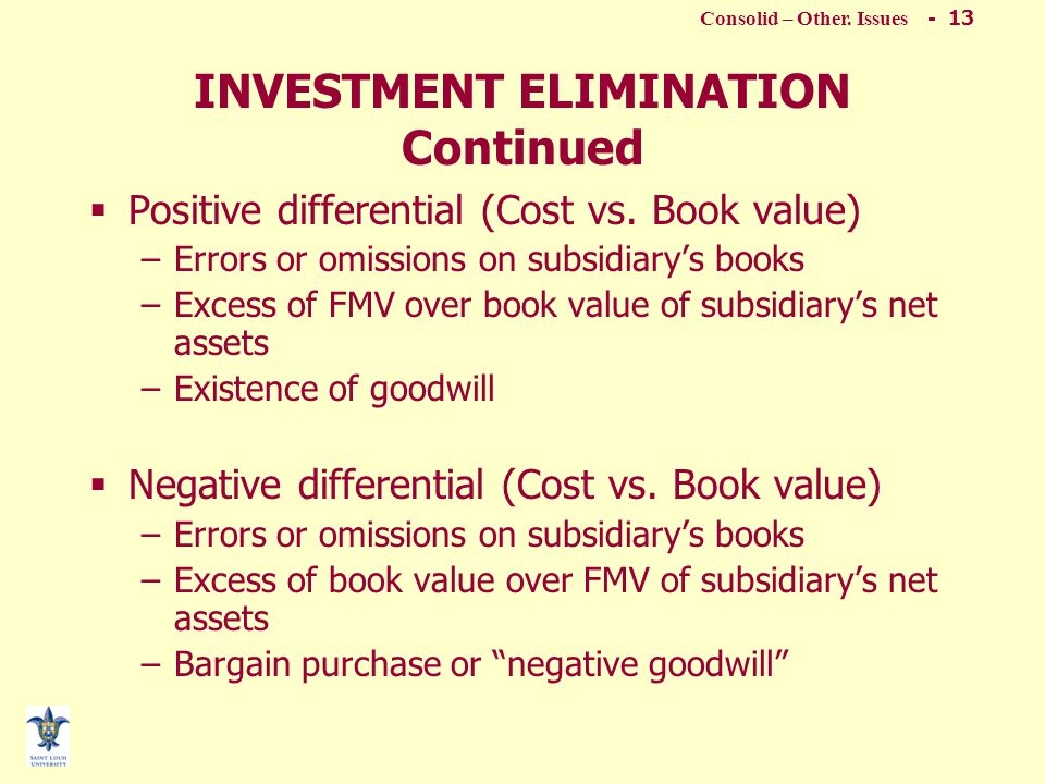 Consolid – Other. Issues - 12 INVESTMENT ELIMINATION  Investment account (Parent's books) vs.
