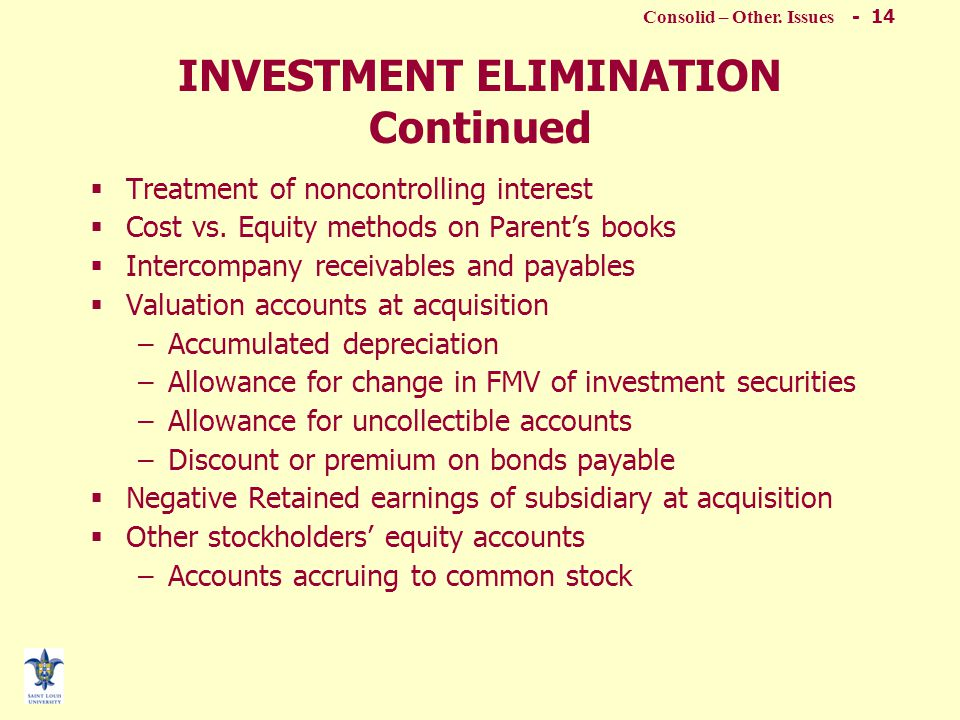 Consolid – Other. Issues - 13 INVESTMENT ELIMINATION Continued  Positive differential (Cost vs. Book value) –Errors or omissions on subsidiary's book