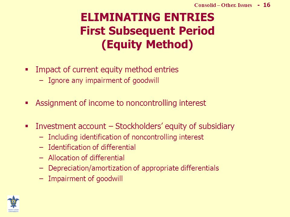 Concepts of Consolid. Statements - 15 Subsequent Consolidation - Worksheet Entries 5 basic entries are posted to the worksheet.  The Sub's equity acc