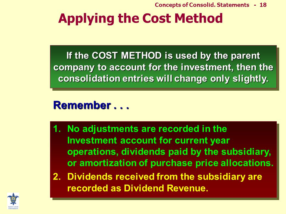 Consolid – Other. Issues - 17 ELIMINATING ENTRIES Further Subsequent Period (Equity Method)  Impact of current equity method entries –Ignore impairme