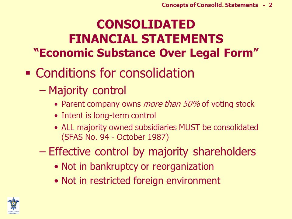 Concepts of Consolid. Statements - 1 Parent Subsidiary Consolidated financial statements are prepared. Concepts of Consolidated Financial Statements 2
