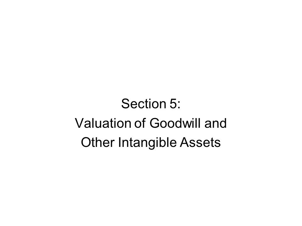 Section 5: Valuation of Goodwill and Other Intangible Assets
