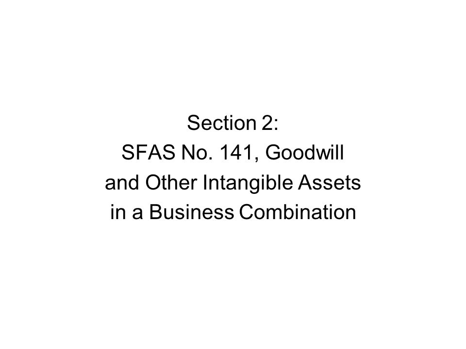 Section 2: SFAS No. 141, Goodwill and Other Intangible Assets in a Business Combination