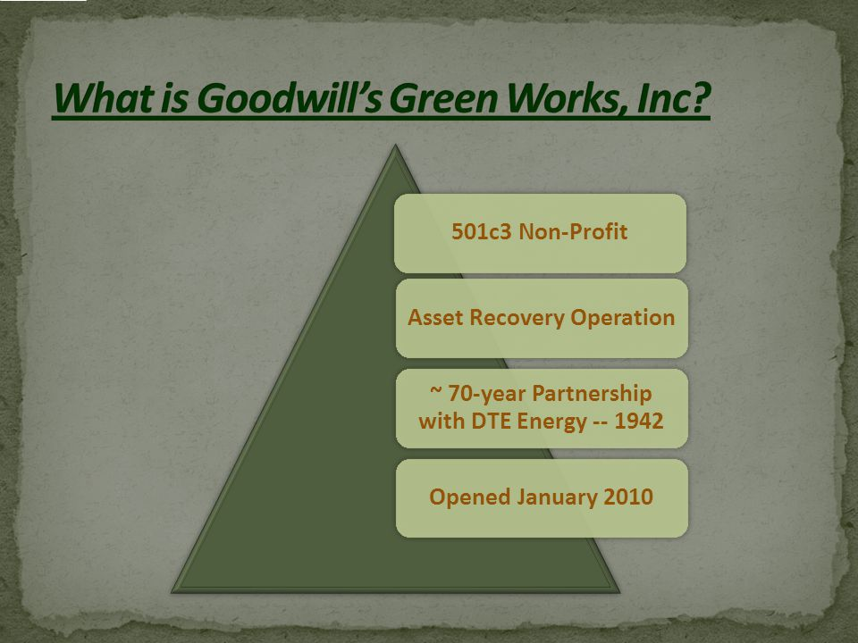 501c3 Non-ProfitAsset Recovery Operation ~ 70-year Partnership with DTE Energy -- 1942 Opened January 2010
