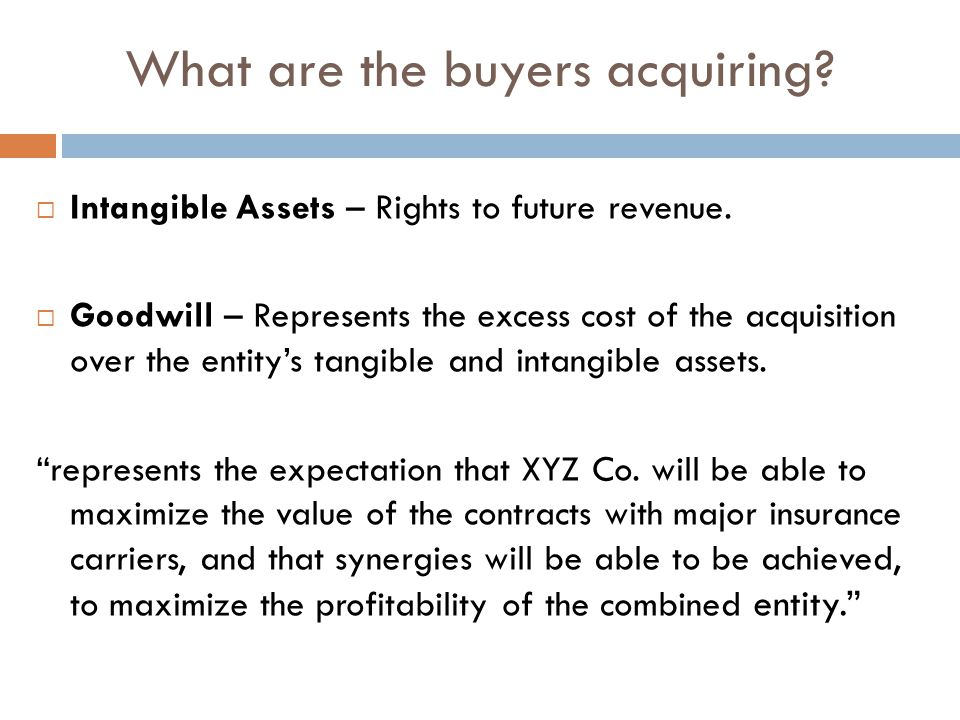  Intangible Assets – Rights to future revenue.  Goodwill – Represents the excess cost of the acquisition over the entity's tangible and intangible a