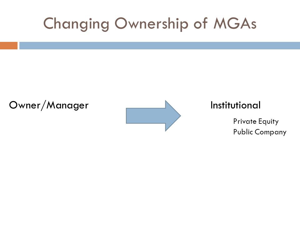 Changing Ownership of MGAs Owner/Manager Institutional Private Equity Public Company