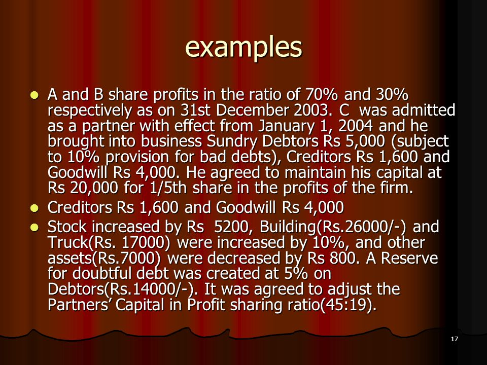 17 examples A and B share profits in the ratio of 70% and 30% respectively as on 31st December 2003. C was admitted as a partner with effect from Janu