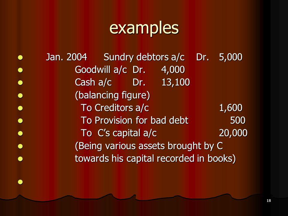 18 examples Jan. 2004Sundry debtors a/c Dr.5,000 Jan. 2004Sundry debtors a/c Dr.5,000 Goodwill a/cDr.4,000 Goodwill a/cDr.4,000 Cash a/cDr.13,100 Cash