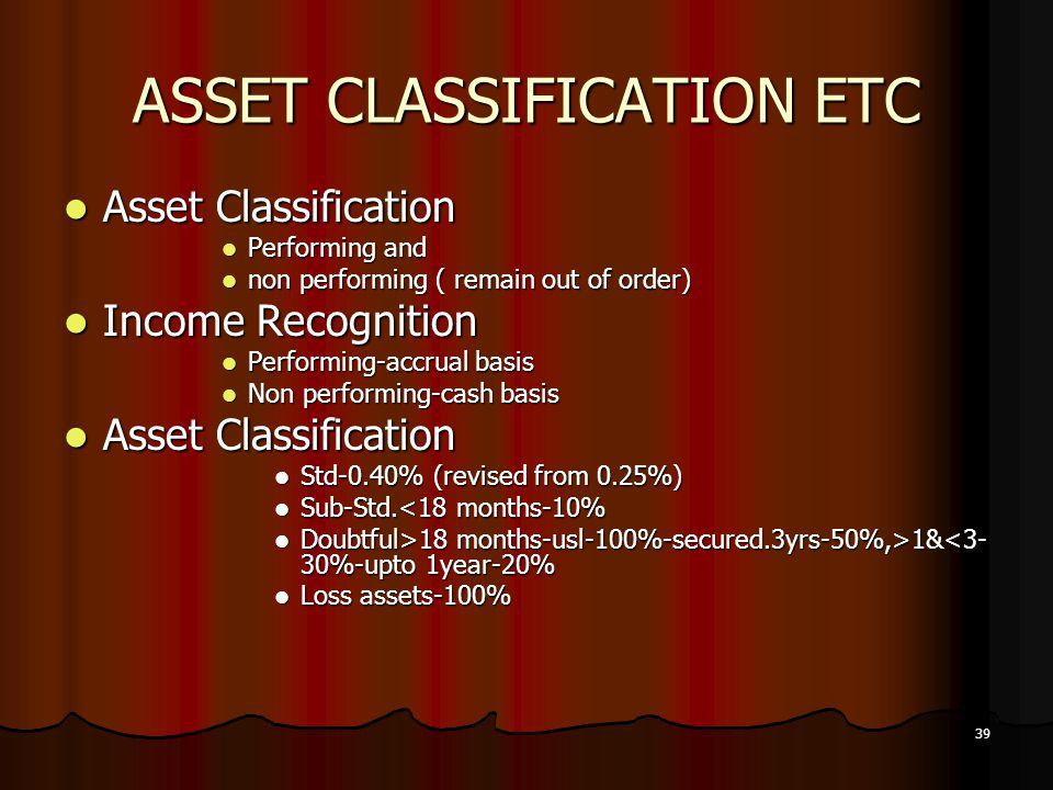 39 ASSET CLASSIFICATION ETC Asset Classification Asset Classification Performing and Performing and non performing ( remain out of order) non performi