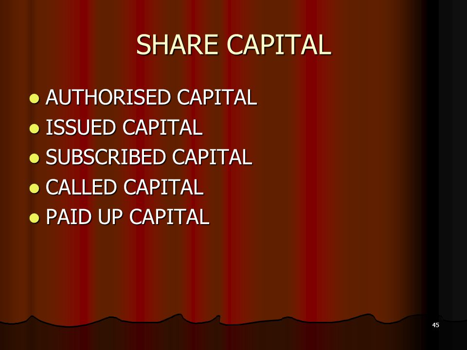 45 SHARE CAPITAL AUTHORISED CAPITAL AUTHORISED CAPITAL ISSUED CAPITAL ISSUED CAPITAL SUBSCRIBED CAPITAL SUBSCRIBED CAPITAL CALLED CAPITAL CALLED CAPIT