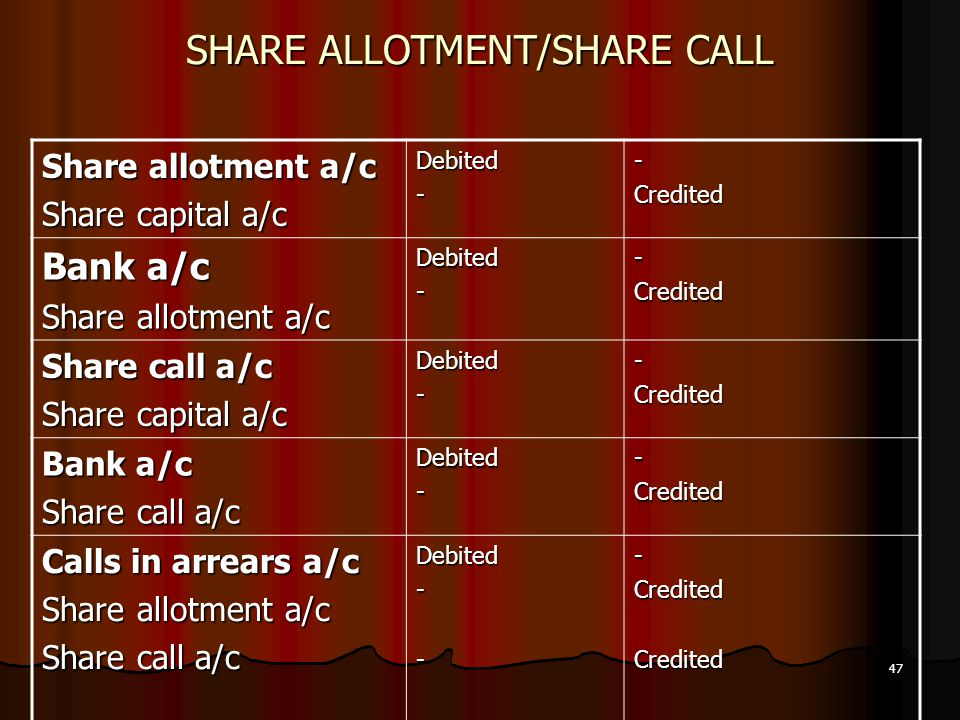 47 SHARE ALLOTMENT/SHARE CALL Share allotment a/c Share capital a/c Debited--Credited Bank a/c Share allotment a/c Debited--Credited Share call a/c Sh
