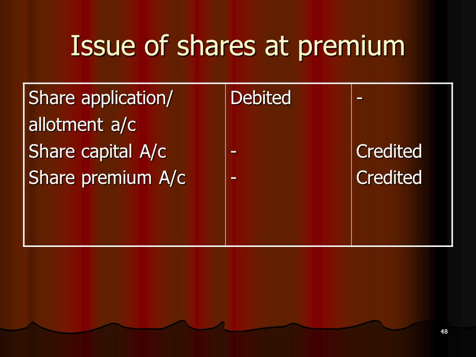 48 Issue of shares at premium Share application/ allotment a/c Share capital A/c Share premium A/c Debited---CreditedCredited