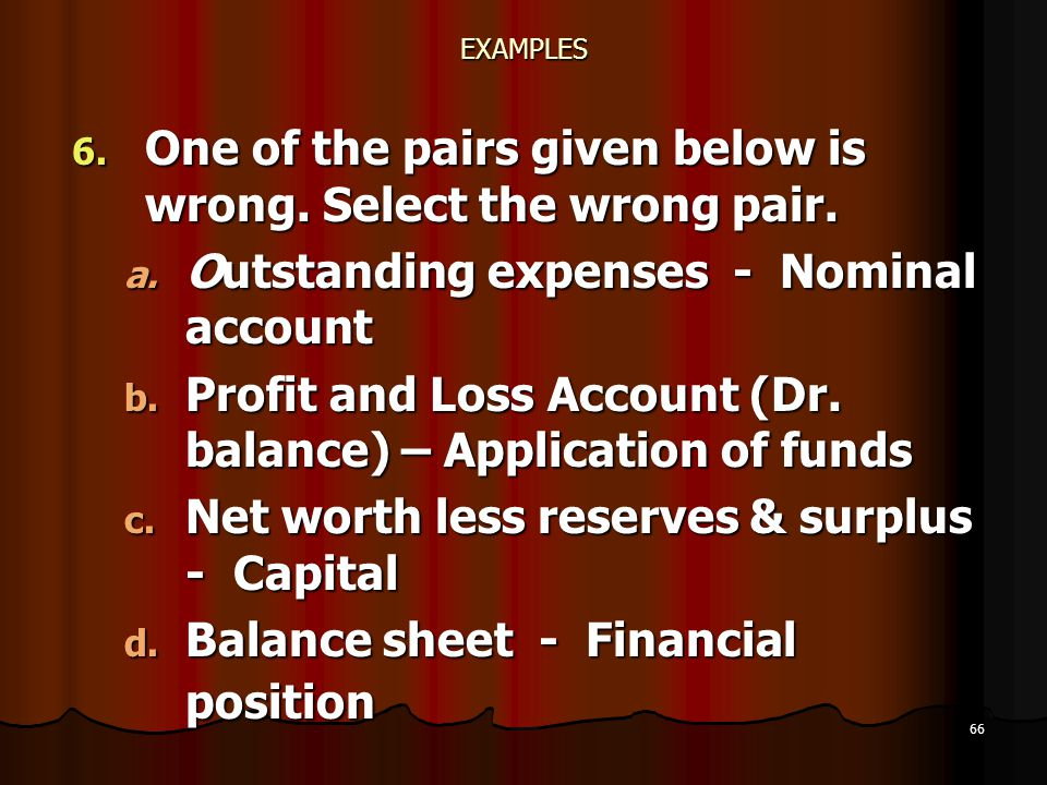 66 EXAMPLES 6. One of the pairs given below is wrong. Select the wrong pair. a. Outstanding expenses - Nominal account b. Profit and Loss Account (Dr.
