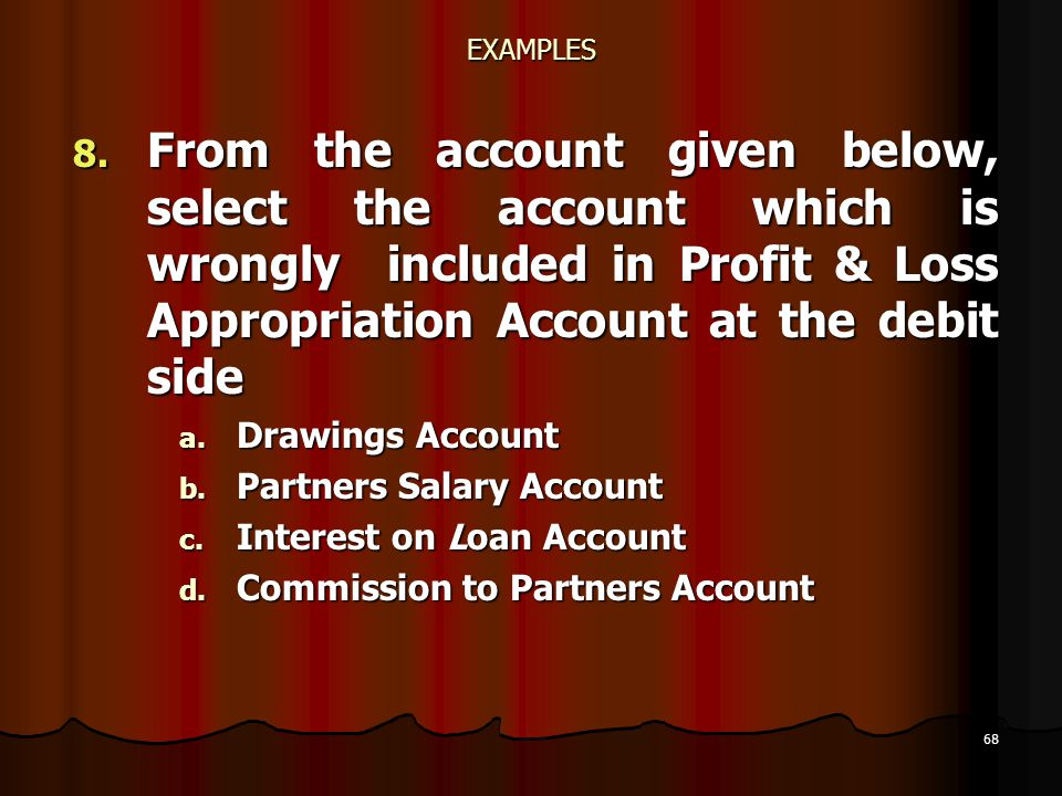 68 EXAMPLES 8. From the account given below, select the account which is wrongly included in Profit & Loss Appropriation Account at the debit side a.