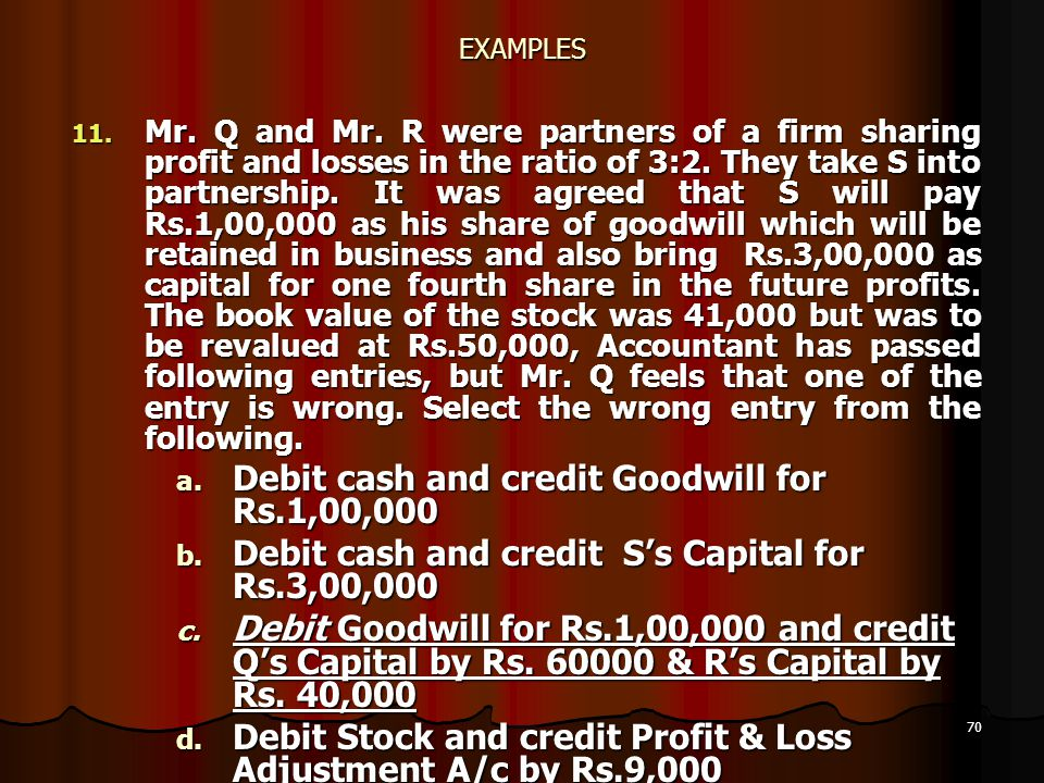 70 EXAMPLES 11. Mr. Q and Mr. R were partners of a firm sharing profit and losses in the ratio of 3:2. They take S into partnership. It was agreed tha