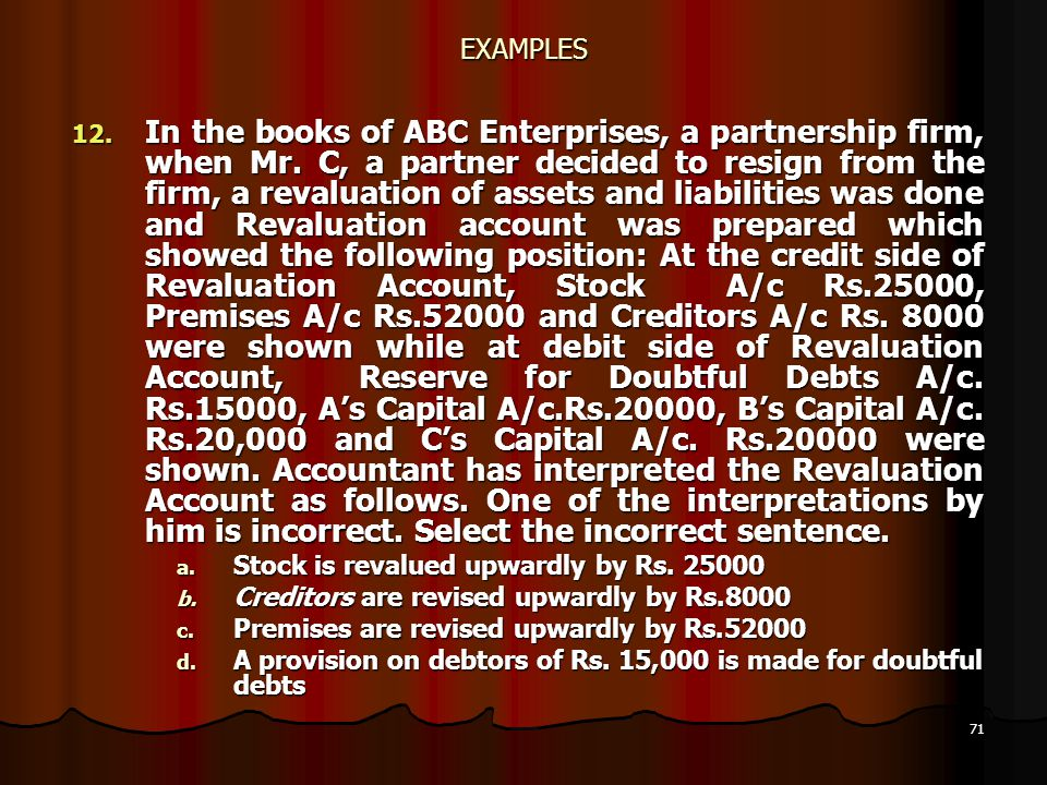 71 EXAMPLES 12. In the books of ABC Enterprises, a partnership firm, when Mr. C, a partner decided to resign from the firm, a revaluation of assets an