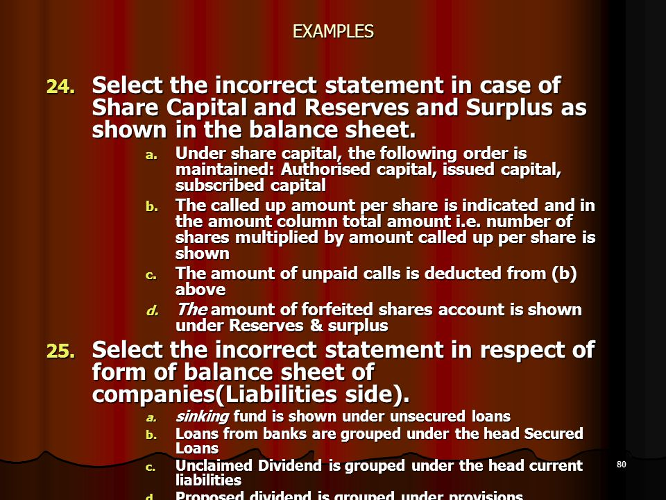 80 EXAMPLES 24. Select the incorrect statement in case of Share Capital and Reserves and Surplus as shown in the balance sheet. a. Under share capital