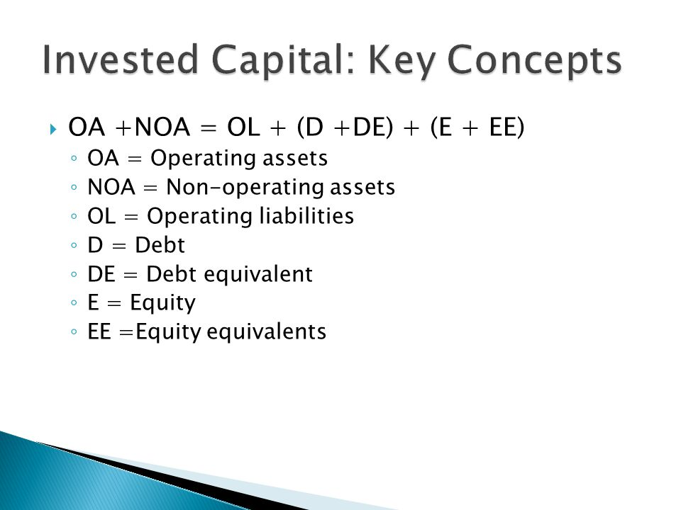  Invested Capital +NOA = Total Funds Invested = (D+DE) + (E + EE)  Invested capital = OA – OL