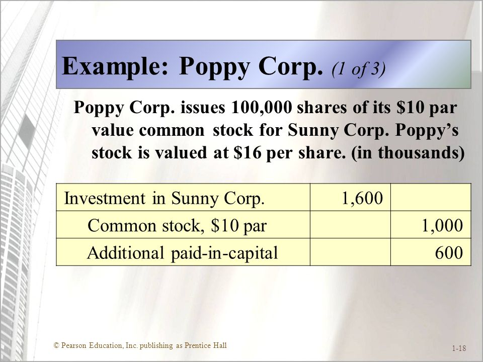 © Pearson Education, Inc.publishing as Prentice Hall 1-18 Example: Poppy Corp.