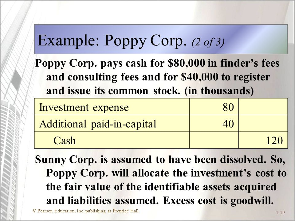 © Pearson Education, Inc.publishing as Prentice Hall 1-19 Example: Poppy Corp.