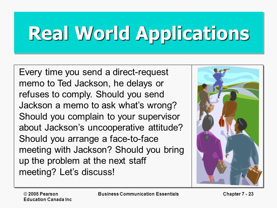 © 2005 Pearson Education Canada Inc Business Communication EssentialsChapter 7 - 23 Real World Applications Every time you send a direct-request memo