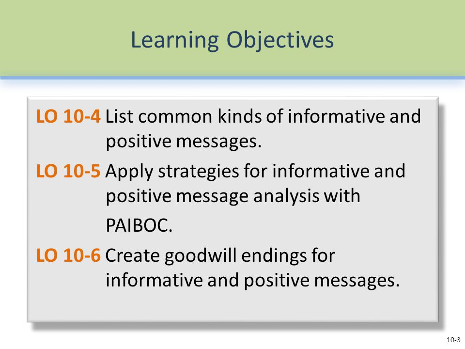 Learning Objectives LO 10-4 List common kinds of informative and positive messages. LO 10-5 Apply strategies for informative and positive message anal