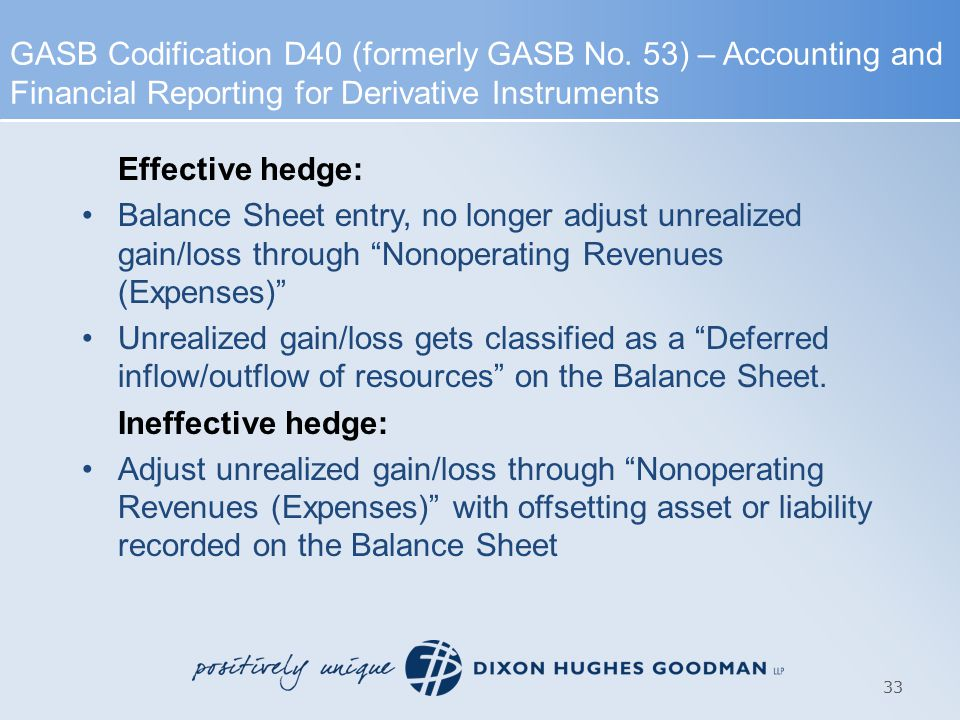 Effective hedge: Balance Sheet entry, no longer adjust unrealized gain/loss through Nonoperating Revenues (Expenses) Unrealized gain/loss gets classified as a Deferred inflow/outflow of resources on the Balance Sheet.