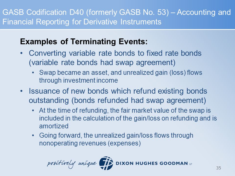 Examples of Terminating Events: Converting variable rate bonds to fixed rate bonds (variable rate bonds had swap agreement) Swap became an asset, and unrealized gain (loss) flows through investment income Issuance of new bonds which refund existing bonds outstanding (bonds refunded had swap agreement) At the time of refunding, the fair market value of the swap is included in the calculation of the gain/loss on refunding and is amortized Going forward, the unrealized gain/loss flows through nonoperating revenues (expenses) 35 GASB Codification D40 (formerly GASB No.