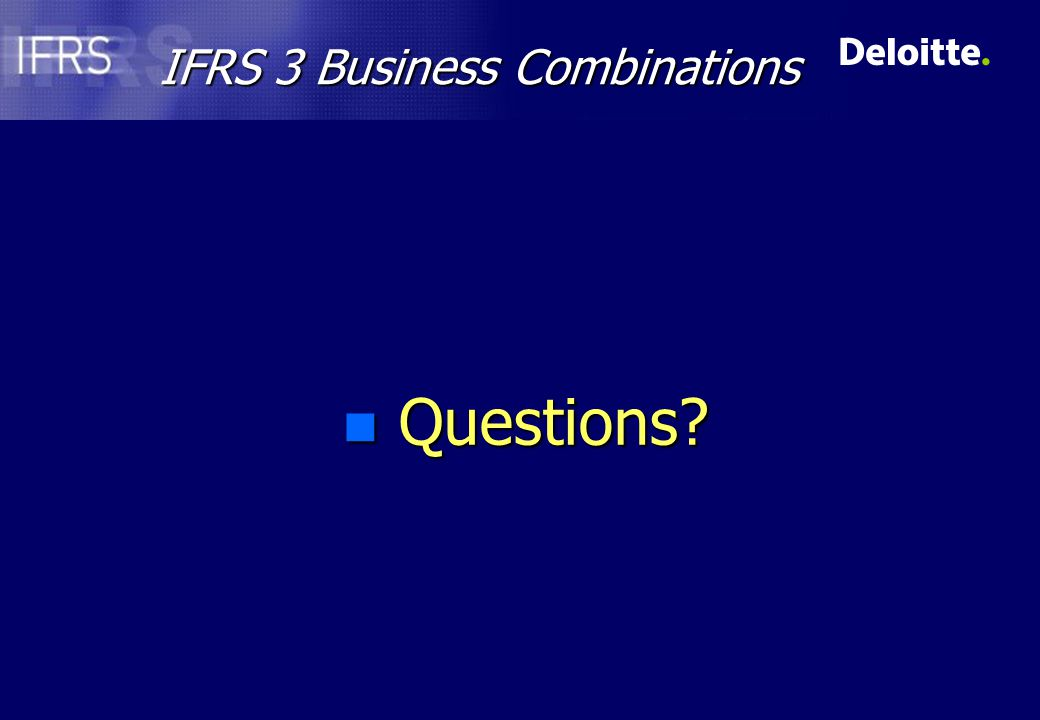 IFRS 3 Business Combinations n Questions