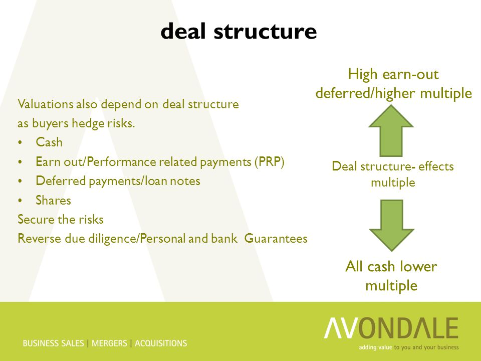 deal structure Valuations also depend on deal structure as buyers hedge risks.