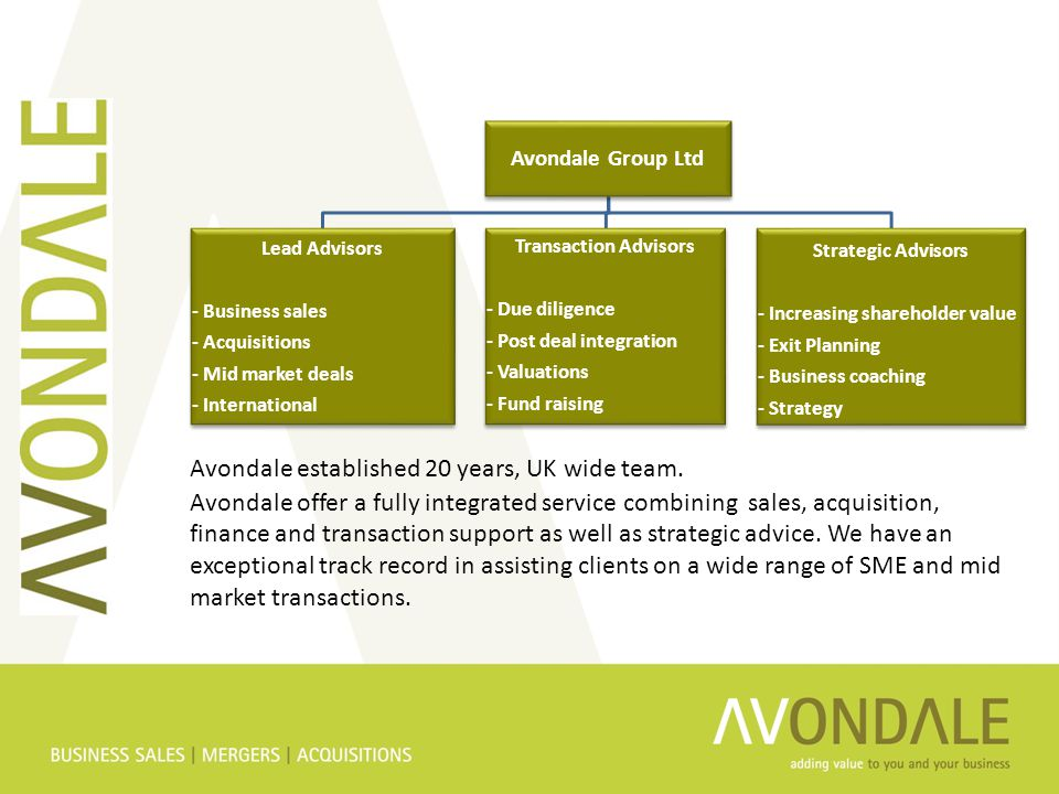 Avondale Group Ltd Lead Advisors - Business sales - Acquisitions - Mid market deals - International Transaction Advisors - Due diligence - Post deal integration - Valuations - Fund raising Strategic Advisors - Increasing shareholder value - Exit Planning - Business coaching - Strategy Avondale established 20 years, UK wide team.