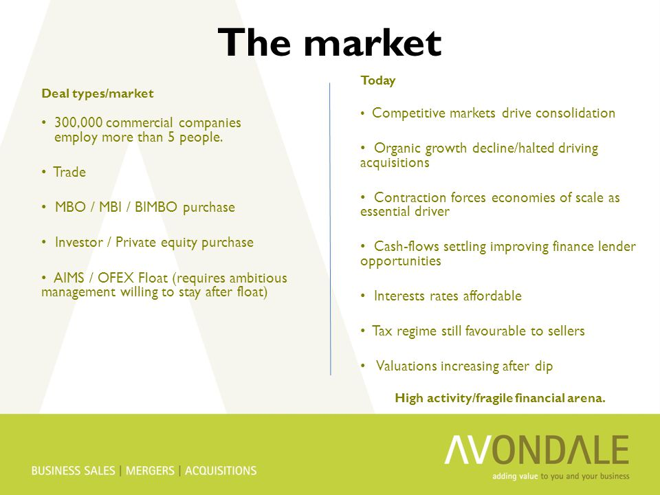 The market Deal types/market 300,000 commercial companies employ more than 5 people.