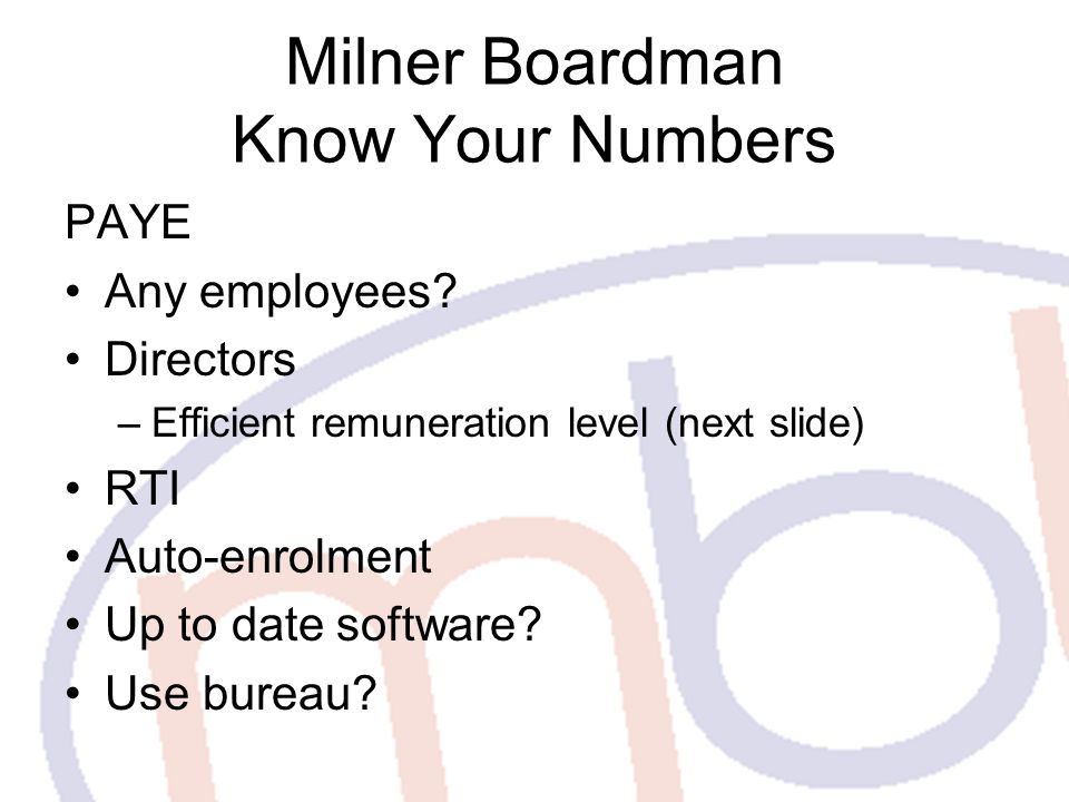 Milner Boardman Know Your Numbers PAYE Any employees.