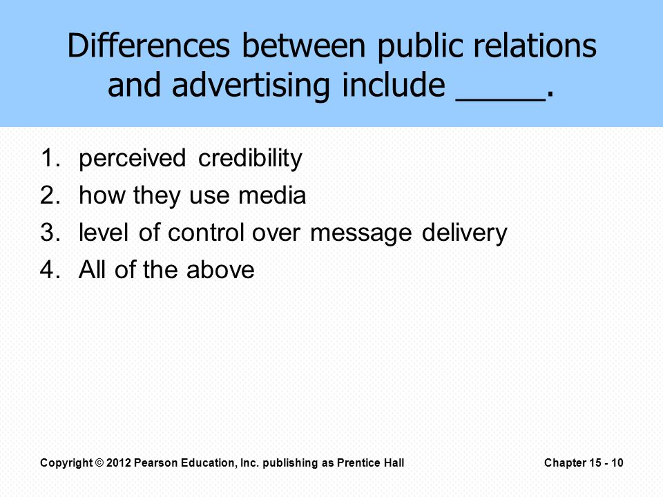 Differences between public relations and advertising include _____. 1.perceived credibility 2.how they use media 3.level of control over message deliv