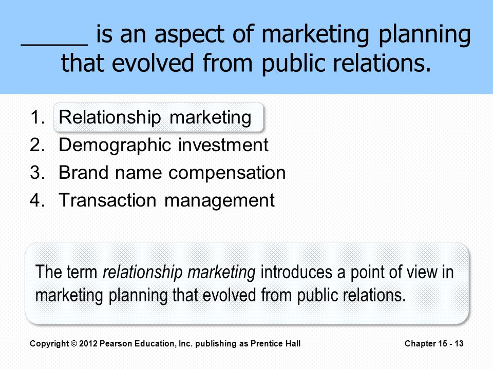 _____ is an aspect of marketing planning that evolved from public relations. 1.Relationship marketing 2.Demographic investment 3.Brand name compensati