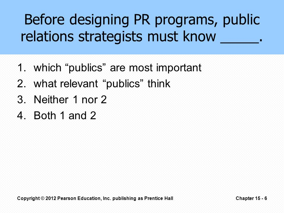 Before designing PR programs, public relations strategists must know _____.