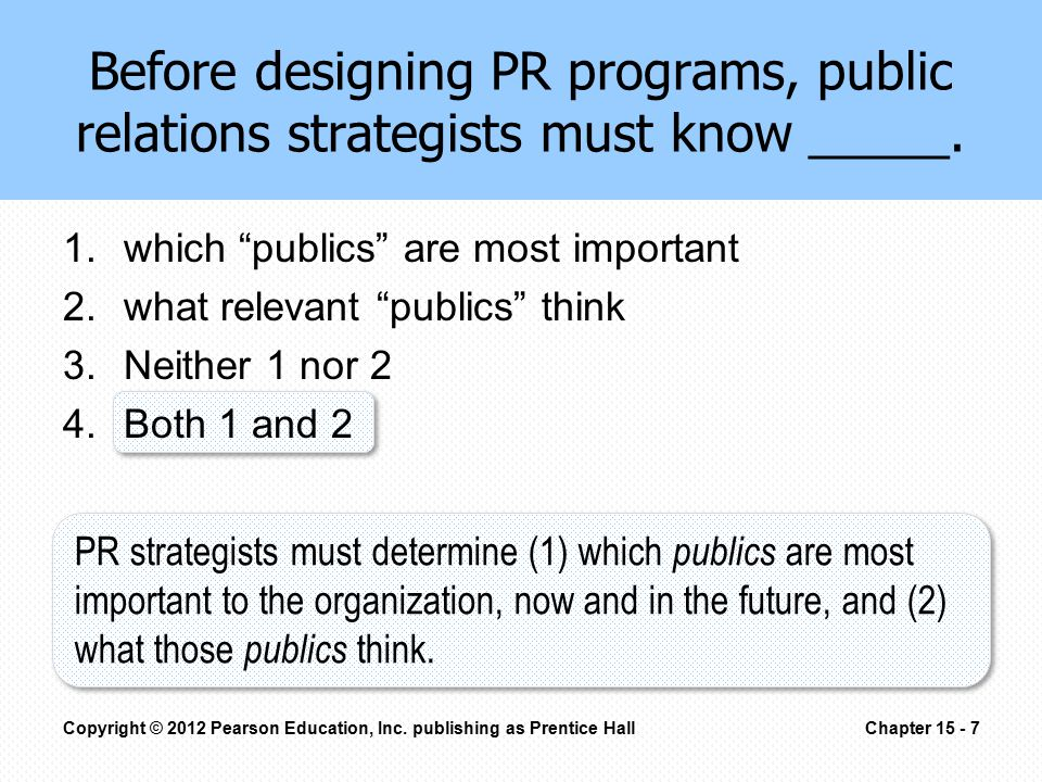 "Before designing PR programs, public relations strategists must know _____. 1.which ""publics"" are most important 2.what relevant ""publics"" think 3.Nei"