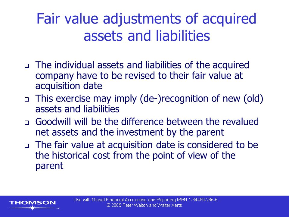 Fair value adjustments of acquired assets and liabilities  The individual assets and liabilities of the acquired company have to be revised to their