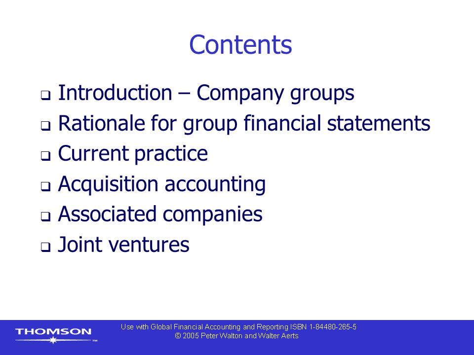 Purchase method of accounting  Acquisition (or purchase method of) accounting is the method used to account for business combinations  Goodwill arises as a consolidation difference if the purchase cost of the investment is not equal to the book value of equity in the subsidiary