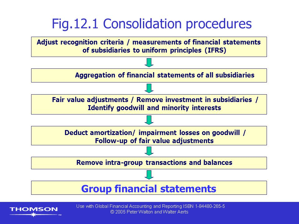 Deduct amortization/ impairment losses on goodwill / Follow-up of fair value adjustments Aggregation of financial statements of all subsidiaries Fig.1