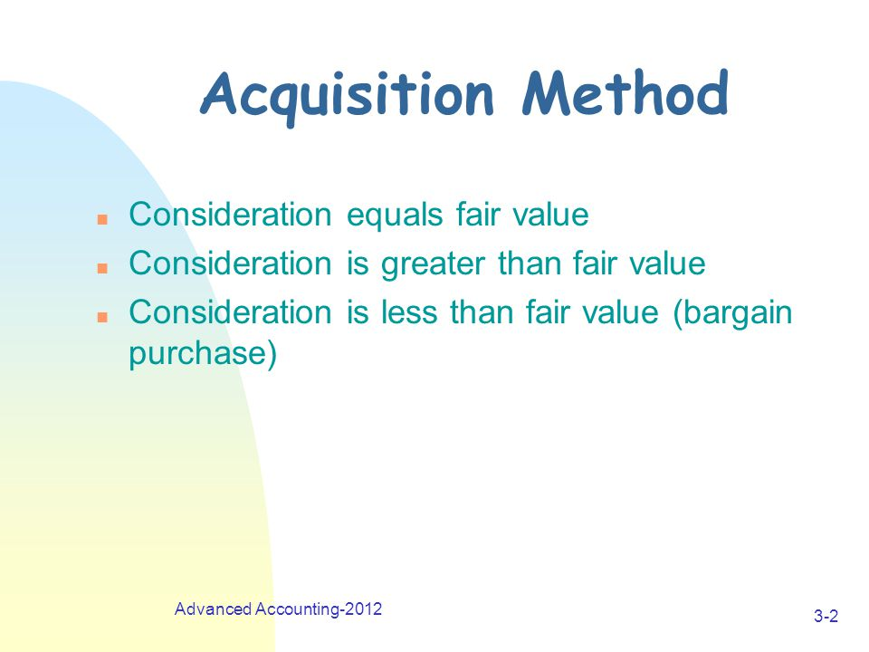 Advanced Accounting-2012 3-2 Acquisition Method n Consideration equals fair value n Consideration is greater than fair value n Consideration is less than fair value (bargain purchase)
