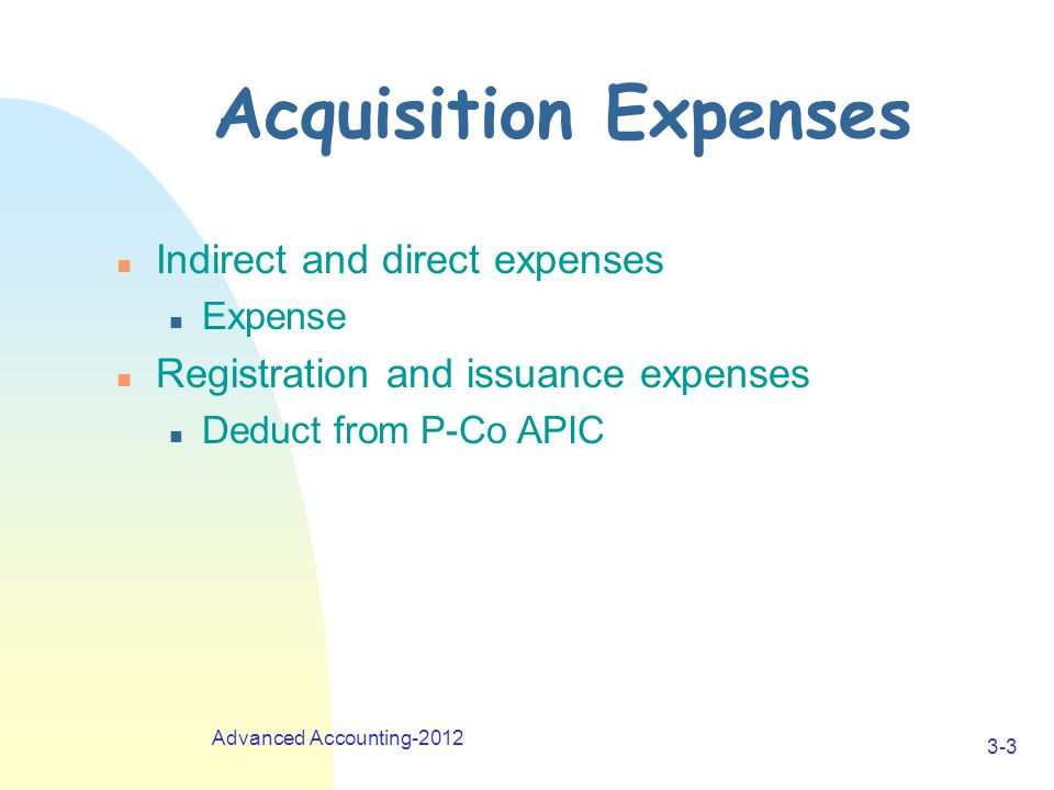 Advanced Accounting-2012 3-3 Acquisition Expenses n Indirect and direct expenses n Expense n Registration and issuance expenses n Deduct from P-Co APIC