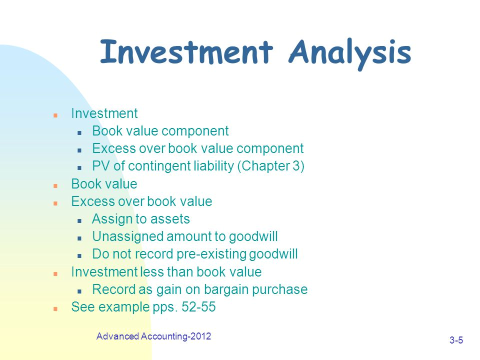 Advanced Accounting-2012 3-5 Investment Analysis n Investment n Book value component n Excess over book value component n PV of contingent liability (Chapter 3) n Book value n Excess over book value n Assign to assets n Unassigned amount to goodwill n Do not record pre-existing goodwill n Investment less than book value n Record as gain on bargain purchase n See example pps.