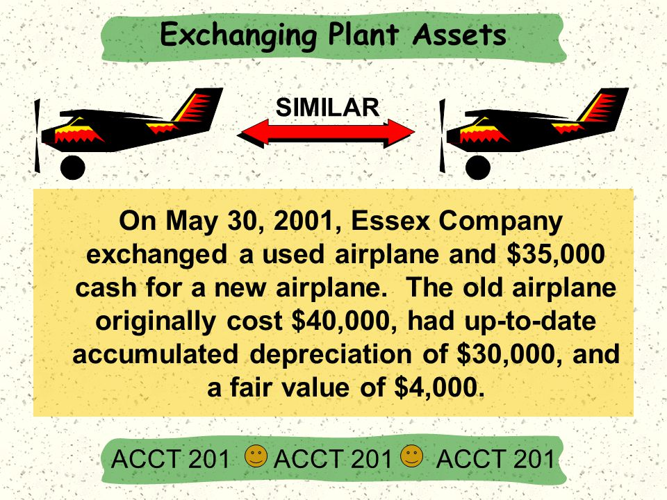 On May 30, 2001, Essex Company exchanged a used airplane and $35,000 cash for a new airplane. The old airplane originally cost $40,000, had up-to-date