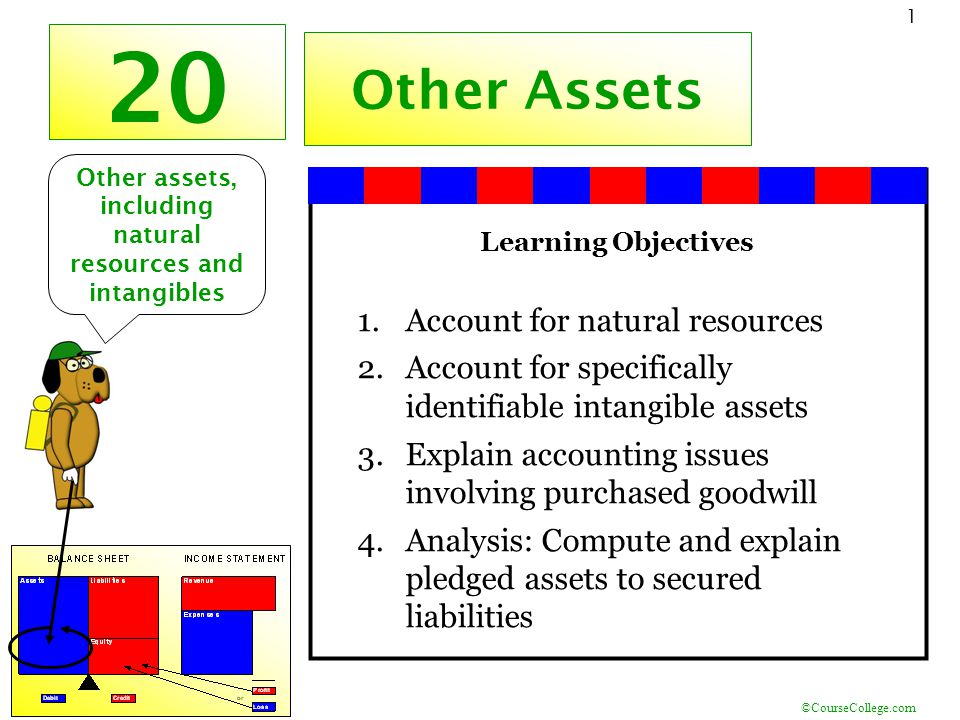©CourseCollege.com 1 20 Other Assets Learning Objectives 1.Account for natural resources 2.Account for specifically identifiable intangible assets 3.Explain accounting issues involving purchased goodwill 4.Analysis: Compute and explain pledged assets to secured liabilities Other assets, including natural resources and intangibles