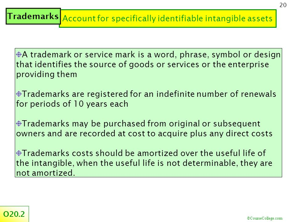 ©CourseCollege.com 20 Account for specifically identifiable intangible assets O20.2 Trademarks A trademark or service mark is a word, phrase, symbol or design that identifies the source of goods or services or the enterprise providing them Trademarks are registered for an indefinite number of renewals for periods of 10 years each Trademarks may be purchased from original or subsequent owners and are recorded at cost to acquire plus any direct costs Trademarks costs should be amortized over the useful life of the intangible, when the useful life is not determinable, they are not amortized.
