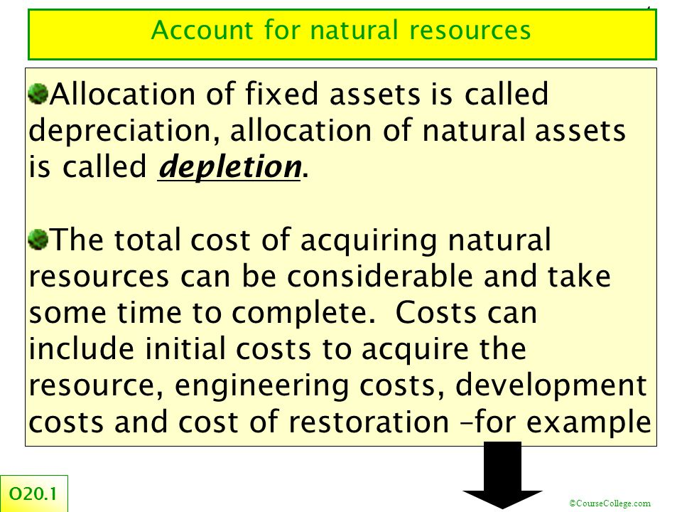 ©CourseCollege.com 4 Account for natural resources O20.1 Allocation of fixed assets is called depreciation, allocation of natural assets is called depletion.