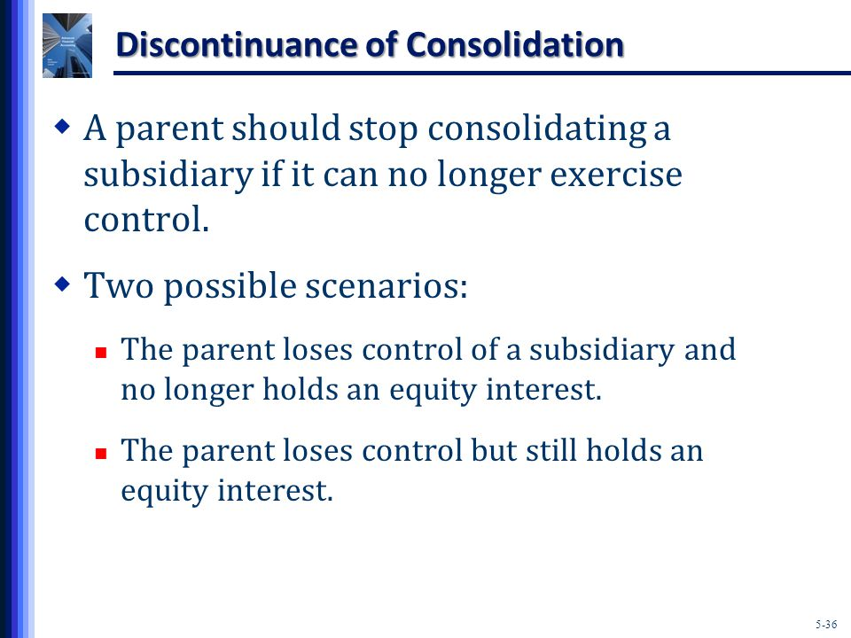 5-36 Discontinuance of Consolidation  A parent should stop consolidating a subsidiary if it can no longer exercise control.