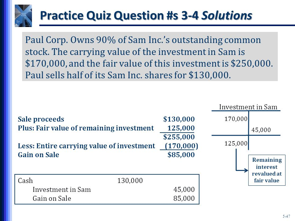 5-47 Practice Quiz Question #s 3-4 Solutions 170,000 Investment in Sam 125,000 Cash130,000 Investment in Sam45,000 Gain on Sale85,000 Paul Corp.